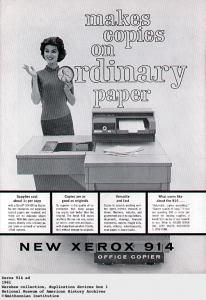 Publicidad de la primer fotocopiadora de la historia